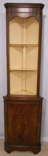 Georgian Style Mahogany Slim Corner Display Cupboard